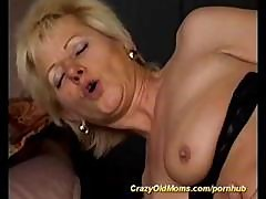 Slutty Blonde Granny Gets Naked And Takes His Young Boner In Her Ass