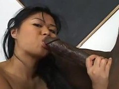Pierced Asian pussy fucked by big black cock