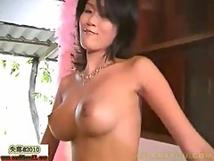 Alone asian bares her body