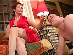 Ms. Charlotte Is A Mature Short-haired Redhead Who Humps A Young Man