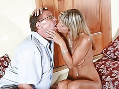 Incredibly Beautiful Blonde With Meaty Knockers Fucks an Old Man