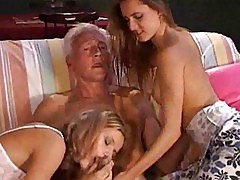 Two hot young chicks fucking a senior!