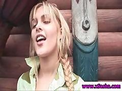 Blonde Teen In Pigtails Is Getting Naked With Help And Posing