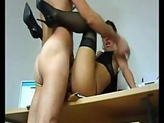 Geeky Young Brunette Secretary Gets Taped Banging Her Lover At The Office