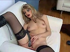 Horny petite blonde plays with tie