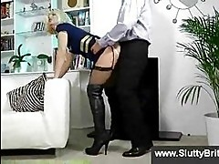 Slutty blonde in stockings and old man