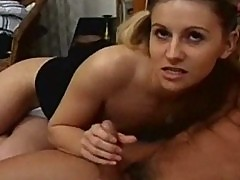 Young school girl loves blowjob