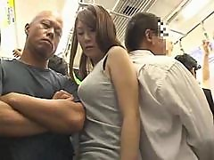 Big Boobs Girl molested on a train