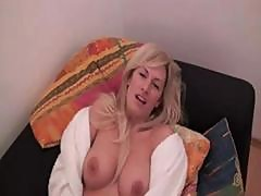 Young Blonde Housewife Bimbo Masturbates And Gets Screwed