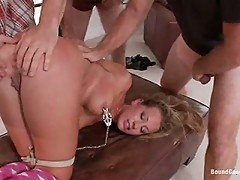 19 Year Old With Big Natural Tits Gets Dicked Down by 5 Older Men