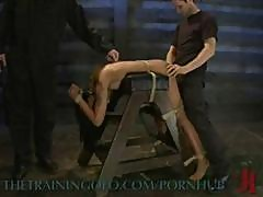 Asian Brunette Slave Is Strung Up And Abused By Her Master