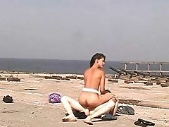 Teen pussy drilled on the beach
