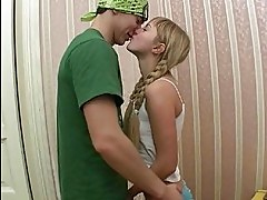 Nasty blonde teen with braids and small chest gets nailed on...