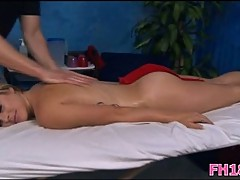 Teenie gets massage & cock