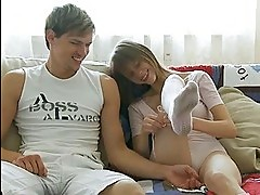 Naked teen makes love