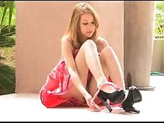 Kinky Blonde Teen in Cute Dress Masturbates with Her High Heel Shoes