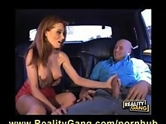 Stranded Big-Tit Redhead MILF is fucks a hard cock in back of Limo