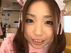Asian Teen In Maid Costume Sucking A Hard Cock
