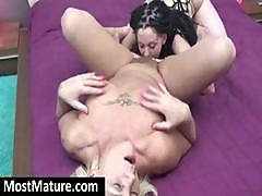 Blonde Older Mom Gets Her Pussy Licked By A Young Brunette Lesbian