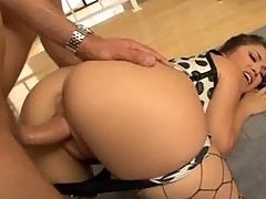Fucking in ripped up fencenet pantyhose and stilettos