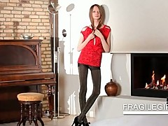 Teen in black pantyhose