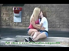 Nikkie And Aubrey Sexy Lesbian Girls Kissing And Public Flashing Tits