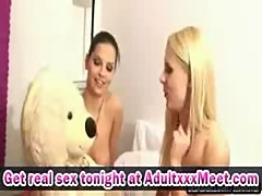 Blonde teen in solo and double lesbian shower action