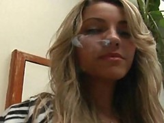 Horny young blonde smoking and sucking