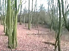 Slutty Brunette Takes Date To Woods For Cocksucking