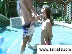 Sexy Brunette Likes To Have Her Hands Tied When She Sucks His Dick By The Pool