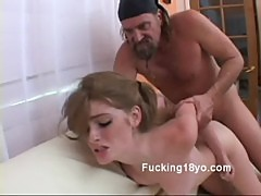 Sexy young redhead faye nailed doggystyle by huge dick