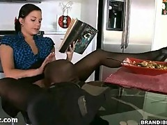 Teen girl gets doggy fucking in the kitchen
