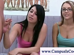 College girls measuring a boys penis