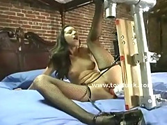 Asian whore undressing to test big toys and fucking machines inserting all of them inside herself