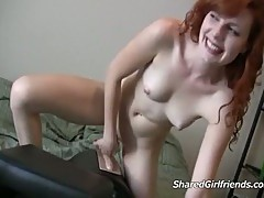 Redhead gets rammed by a machine
