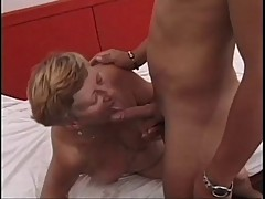 Short Haired Granny Fucks A Young Cock !